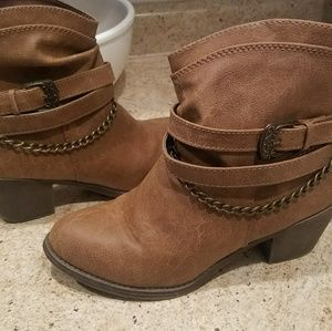Kohls Brown Faux Leather Booties