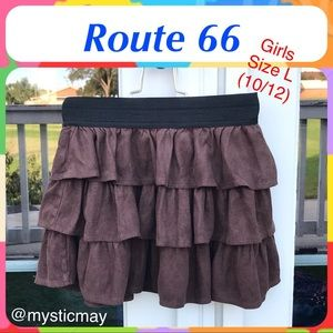 Girls Choco Brown Faux Suede Layered Mini Skirt L