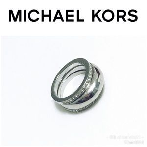 Michael Kors Double Silver Crystal Ring Set
