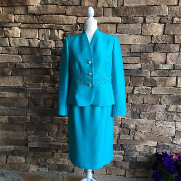 8dc87e3f2e2cb Kasper Dresses   Skirts - Kasper 2 Piece Skirt Suit Size 8 Teal Blue