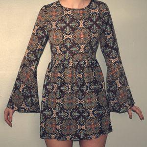 Bell Sleeve Pattern Mini Dress