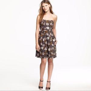 J Crew Marielle Black Floral Dress, Size 12