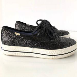Kate Spade X Keds  Black Glitter Platform Sneakers