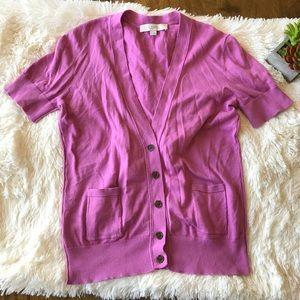 LOFT Short Sleeve Button Front Cardigan