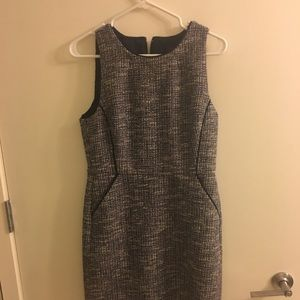 Jcrew tweed dress in navy and pink size 8