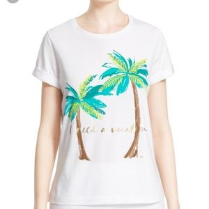 Kate Spade 'i need a vacation' tee XL NWT