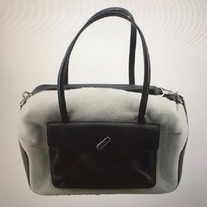 Alexander Wang White and Black Pony Hair Satchel