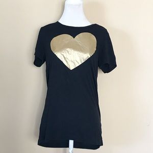 J. Crew Gold Heart Graphic T-shirt Tee