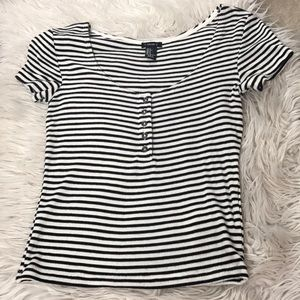 Black/White Striped Button Top