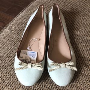Zara mint and brown flats