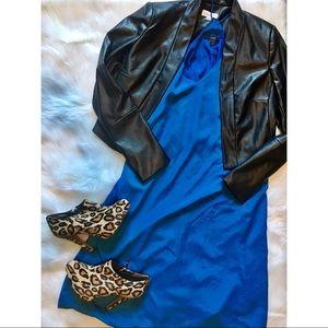 J. Crew Strappy Blue V-Neck Dress