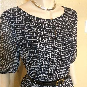 Ann Taylor Black/White Geometric Print Dress