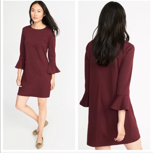 fc0ae1c8687c3c Ponte-Knit Flute-Sleeve Shift Dress (Tall)