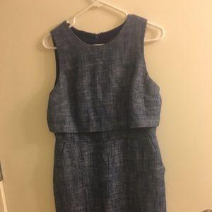 Jcrew two tiered blue tweed dress in size 8