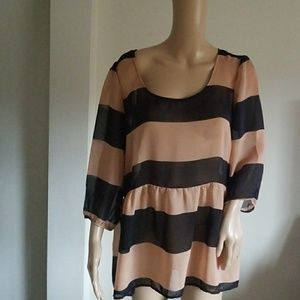 charming CHARLIE PINK AND BLACK BLOUSE