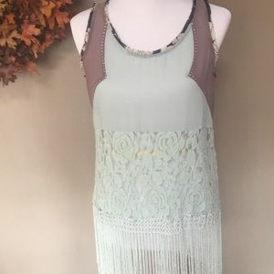 BKE teal with Fringe and lace tank top