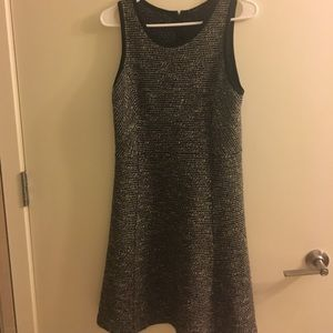 Jcrew black tweed fit and flare dress size 6