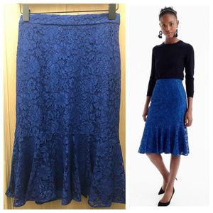 J Crew Lace trumpet skirt, Blue Sz 2