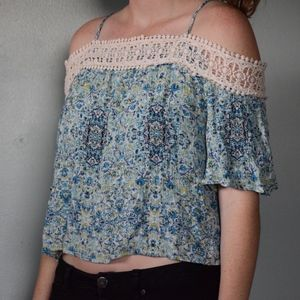 Blue and Green Floral Crop top