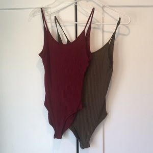 Forever 21 Ribbed Low Back Body Suit Bundle