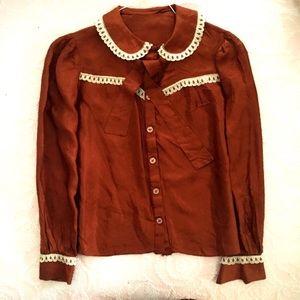 Vintage western button down burnt orange w/ lace
