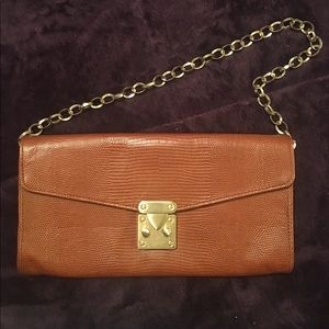 Ellen Tracy snake skin embossed leather clutch