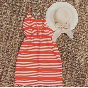 JCrew Orange and White Striped Silk Dress