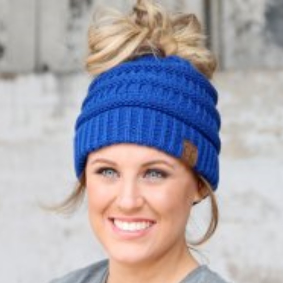 f971912c cc beanie Accessories | Cc Royal Blue Messy Bun Beanie | Poshmark
