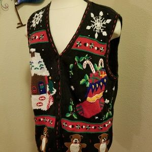 Ugly Christmas sweater vest embroidered size 1x