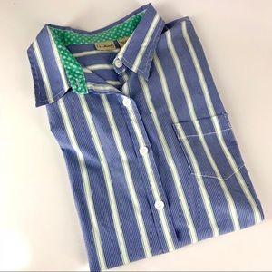 LL Bean Blue and White Stripe Button Down XL
