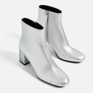 NWT Zara Silver Laminated Ankle Boots