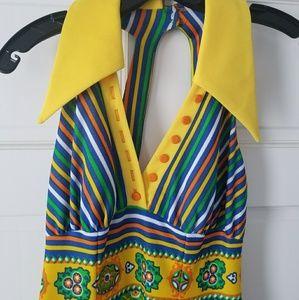 1960s bold multiprint halter maxi dress