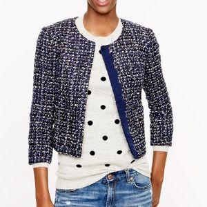 J. Crew Midnight Blue Cropped Tweed Jacket Blazer