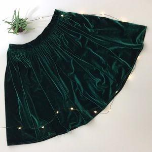 American Apparel - Dark Green Velvet Skater Skirt