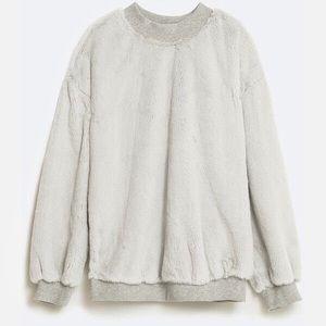 Zara Faux Fur Sweatshirt
