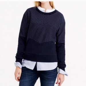 J. Crew Pieced Pinstripe navy sweatshirt
