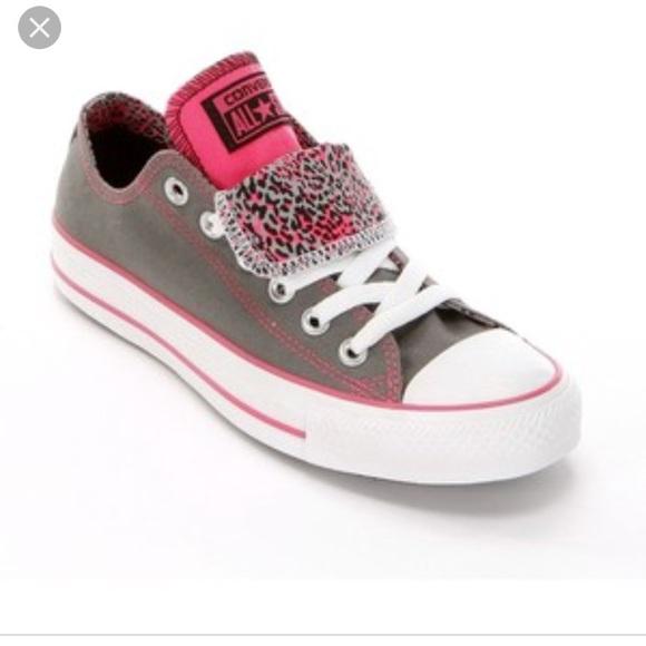 74175ecd34fca3 Converse Shoes - Women s converse gray   pink leopard double tongue