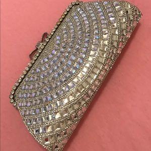 Silver jeweled clutch purse