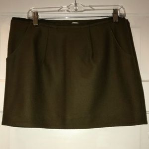 J Crew wool mini skirt, olive, pockets! Size 12