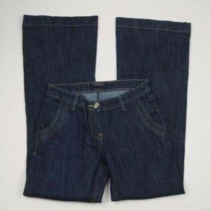 Dark Wash Wide Leg Vintage Style 70's Flare Jeans