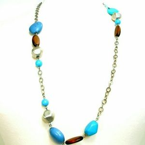 Boho Beaded Blue Brown Long Chain Necklace, Turquo