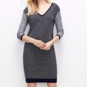 Ann Taylor Colorblock VNeck Stripe Sweater Dress S