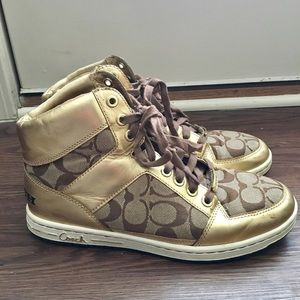 Coach Norra Gold High Top Sneakers
