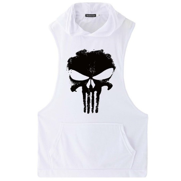 71a6615ed9163f Punisher Bodybuilding Workout Sleeveless Hoodie