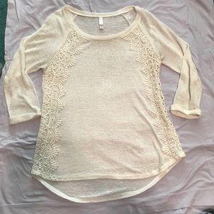 Xhilaration small cream lace 3/4 sleeve shirt