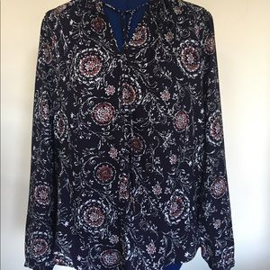 Ann Taylor blouse. Navy with flower pattern. Small