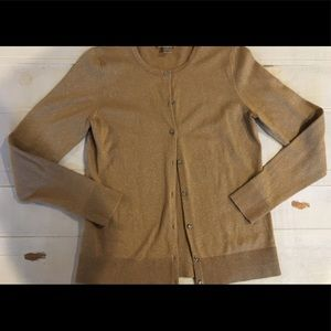 LOFT Gold Shimmer Cardigan with Rhinestone Buttons