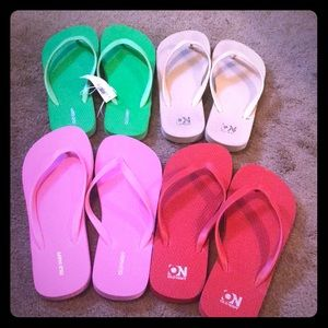 Old Navy flip flops. 3 pairs are brand new