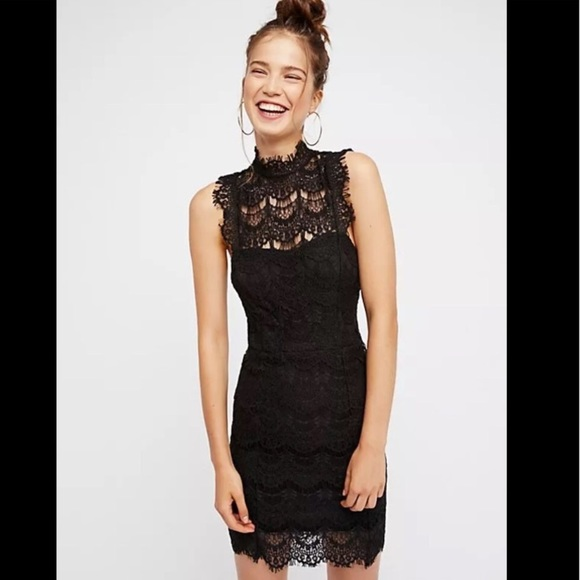 NWT FREE PEOPLE black daydream bodycon lace dress 7a1c67f8bace
