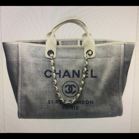cc54c313d75a CHANEL Bags | Light Blue Deauville 2 Way Tote Canvas Bag | Poshmark